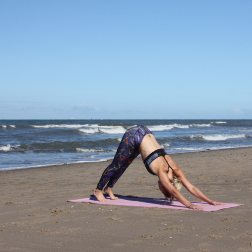 Live online yoga, online yoga, yoga, 100%YOGA, 100procentyoga, yoga video, 100%Esther, buiten yoga, yoga aan zee, neerkijkende hond, downward dog